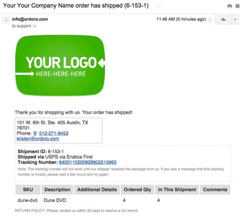 Ordoro - How to send tracking number notification emails