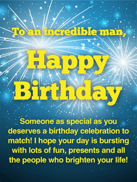 To an Incredible Man - Happy Birthday Card | Birthday